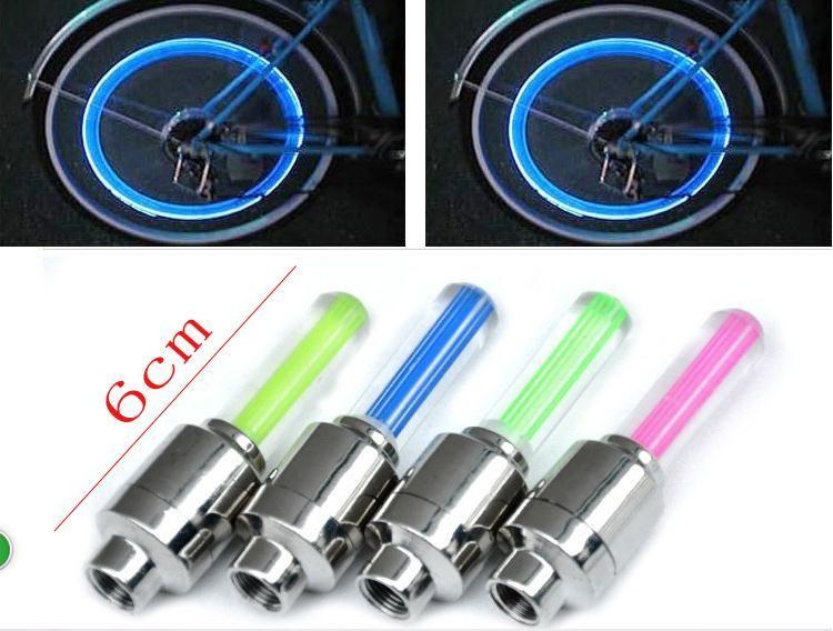 Luces de bicicleta LED Válvula del vástago de la válvula Luces de luces led para bicicleta Neumático Válvula Vástago de la tapa Flash Rueda Motocicleta del coche