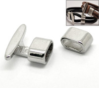 Wholesale Silver Findings For Leather Bracelets - 50Sets Silver Tone Hook Clasps 23x19mm,13x8mm for Leather Bracelet Finding
