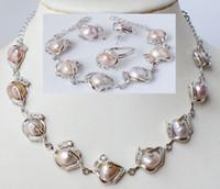 nachgemachte perlenschmucksachen großhandel-Neue feine Perlen Schmuck Modeschmuck natürliche Perlenkette Armband Ohrring Set