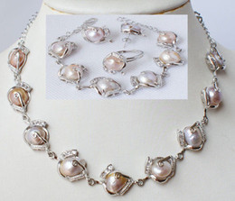 Wholesale Natural Pearls Wedding Necklaces - New Fine Pearl Jewelry Fashion jewellery natural pearl necklace bracelet earring ring set