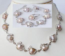 Wholesale Fine Pearl Earrings - New Fine Pearl Jewelry Fashion jewellery natural pearl necklace bracelet earring ring set