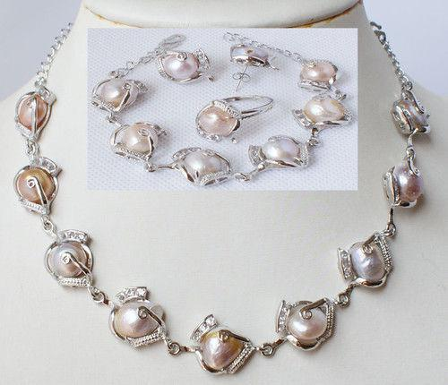 New Fine Pearl Jewelry Fashion jewellery natural pearl necklace bracelet earring ring set