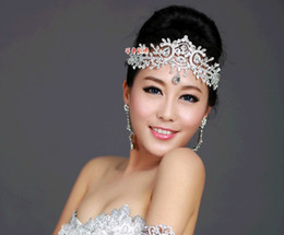 Wholesale Classic Wedding Favors - New Handmade Bridal Wedding Jewelry Crystal Rhinestone Tiaras Hair Comb Combs Crown Hair Accessories Beaded Pieces Pins Favors Set Fashion