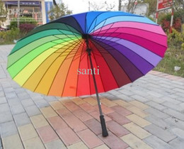 Wholesale Rainbow Umbrella Free Shipping - Top Quality Fashion Long handle rainbow Straight umbrella rain umbrellas free shipping