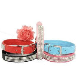 Wholesale Rhinestone Products - Free Shipping 2013 Lefdy New pink designer Dog collar with rhinestones white Leather and pet products