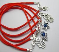 rote schnur glücksbringer großhandel-Heiße Einzelteile 100Pcs mischten Kabbalah-Handcharme-rote Schnur-viel Glück-Armbänder Männer und Frauen glückliches Armband