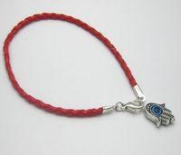 corda vermelha trançada venda por atacado-100 Pcs Vermelho Corda Trançado Leatheroid Kabbalah Olho do Mal Hamsa Mão Encantos Pulseiras 20 cm Homens e mulheres de couro pulseira sorte