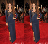 Wholesale Mtv Caps - Selena Gomez 2014 Evening Celebrity Dresses Long Sleeves Dark Navy High Split The 30th MTV Video Music Awards Evening Dress
