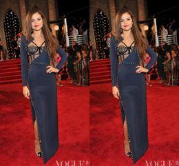 $enCountryForm.capitalKeyWord Canada - Selena Gomez 2019 Evening Celebrity Dresses Long Sleeves Dark Navy High Split The 30th MTV Video Music Awards Evening Dress