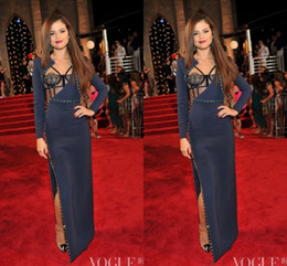 Wholesale High Fashion Music - Selena Gomez 2014 Evening Celebrity Dresses Long Sleeves Dark Navy High Split The 30th MTV Video Music Awards Evening Dress