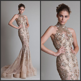 Wholesale Transparent Backless Sequin Dress - Inspired Krikor Jabotian Luxury Sexy Mermaid Wedding Dresses Backless Transparent Lace Sequins Sweep Train High Neck Bridal Gowns PO11