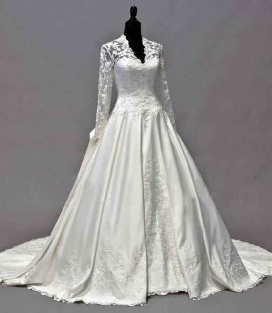 2019 Vintage Kate Middleton Long Sleeves Herbst Brautkleider A-Linie V-Ausschnitt Elfenbein Taft Applikationen Schößchen Brautkleider Hot Custom Made