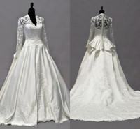 Wholesale Kate Middleton Hottest - 2014 Vintage Kate Middleton Long Sleeves Fall Wedding Dresses A-Line V-Neck Ivory Taffeta Appliques Peplum Bridal Gowns Hot Custom Made