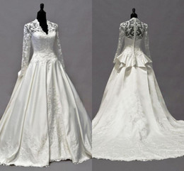 Wholesale Kate Middleton Dressing Gown - 2014 Vintage Kate Middleton Long Sleeves Fall Wedding Dresses A-Line V-Neck Ivory Taffeta Appliques Peplum Bridal Gowns Hot Custom Made