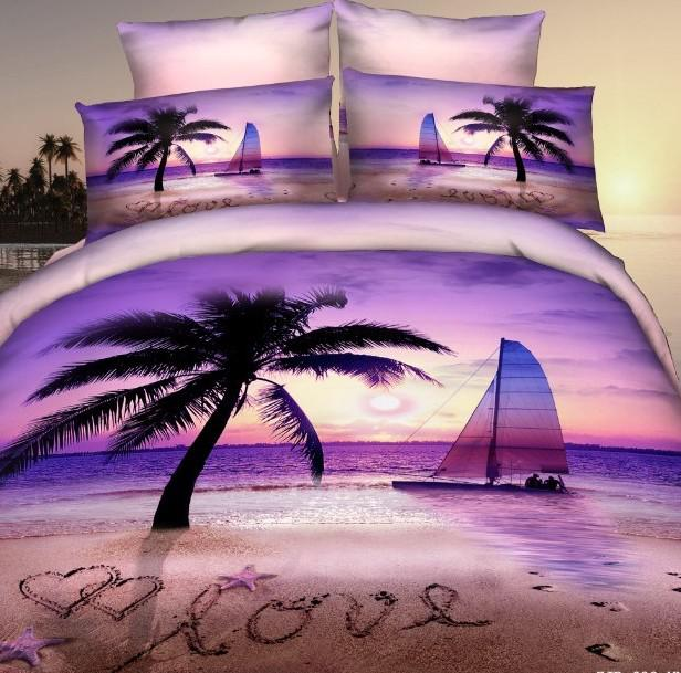 3d Purple Pink Beach Palm Tree Bedding Sets Queen Size