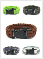 Wholesale Wholesale Custom Whistles - 10pcs Lot Custom 550 Paracord Parachute Survival Bracelets Hand Made With Whistle Military 7-core Weave Bracelet hot
