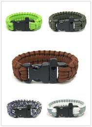 Wholesale Military Paracord Bracelet - 10pcs Lot Custom 550 Paracord Parachute Survival Bracelets Hand Made With Whistle Military 7-core Weave Bracelet hot