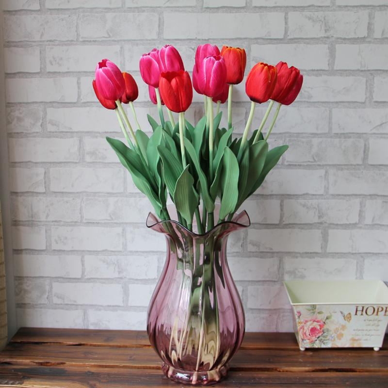 20st Konstgjorda tulpaner 62cm / 24.41 inches konstgjorda blommor simulering tulpaner lilja singel tulpan hem fest dekoration gratis frakt