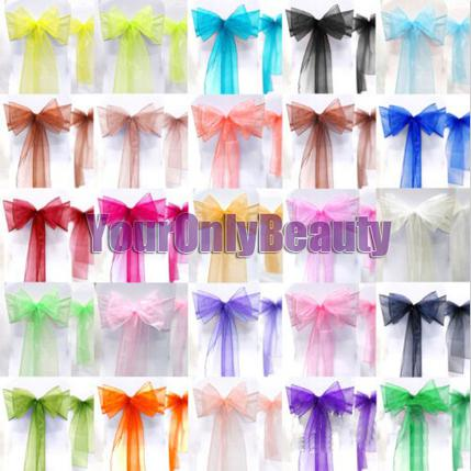 """Tracking Number+Teal Blue 8"""" 20cm W x 108"""" 275cm L Organza Chair Sashes Wedding Party Banquet"""