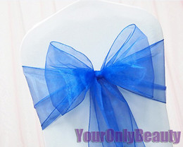 """Wholesale Wedding Chair Sashes Royal Blue - Tracking Number+Free Shipping-25pcs Royal Blue 8"""" (20cm) W x 108"""" (275cm) L Organza Chair Sashes Wedding Party Banquet"""