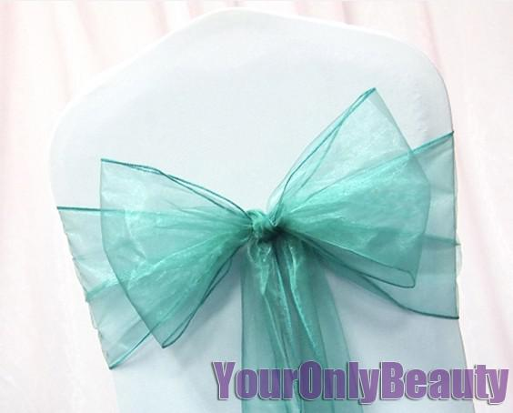 """Tracking Number+Free Shipping-25pcs Teal Blue 8"""" (20cm) W x 108"""" (275cm) L Organza Chair Sashes Wedding Party Banquet"""