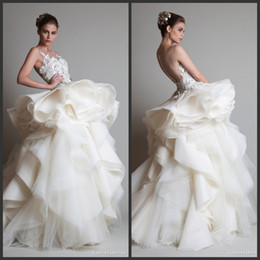 Wholesale Transparent Bridal Gown - Luxury Inspired by KRIKOR JABOTIAN Wedding Dresses Transparent High Collar Ruched Applces Lace Organza Ball Gown Bridal Gowns for wedding HY