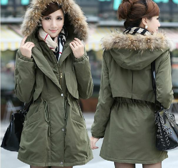 2017 2014 New Women's Clothing Has A Long Winter Jacket Army Green ...