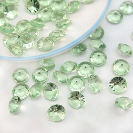Wholesale Wholesale Green Diamond Confetti - Tracking Number-500pcs 10mm (4 Carat) Light Green Faux Acrylic Crystal Diamond Confetti Table Scatter Wedding Favors Party Decoration