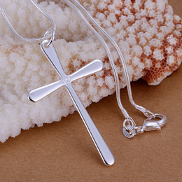 Wholesale Rhinestone Cross Pendant Wholesale - Popular Jewelry 925 Silver Long Cross Pendant Fit 1mm Snake Chains Necklace Cross necklaces jewelry 18inch