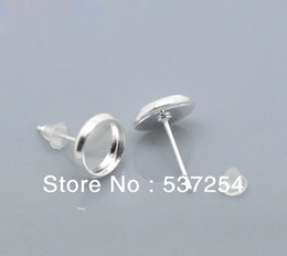 Wholesale Earrings Stud Finding - Free shipping 100pcs silver-plated earrings slotted round pad 12 mm blank settings found