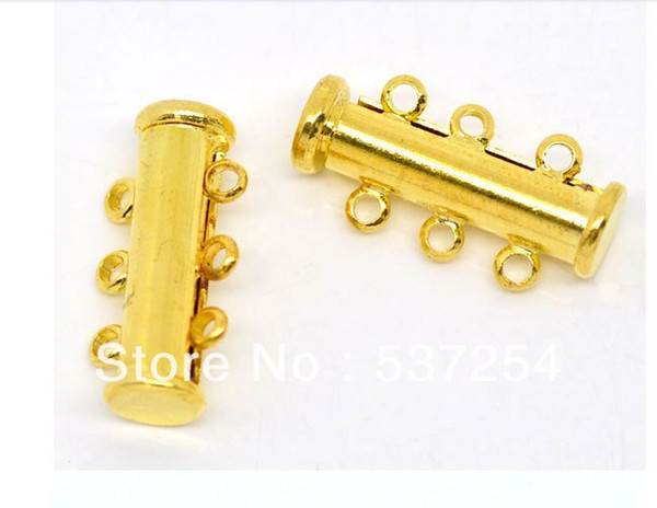 Free Shipping Wholesales 50pcs copper Gold Plated 3Strands Magnetic Slide Clasps 20x10mm