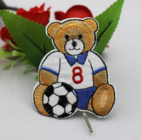 Wholesale Wholesale Bear Patches - Wholesales 10 Pieces~Cutie Football Teddy Bear (6.5 x 7 cm) Embroidered Iron On Applique Patch (ALL)