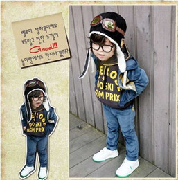 Wholesale Boys Pilot Hat - Wholesale -Baby cap Pilot hat kids' air force cap Popular boy winter cap Hot Children's Ear muff cap 5p l
