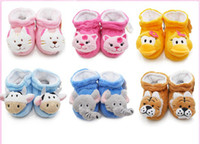 Wholesale Cheap Toddler Warm Boots - 6%off!2015new!Cartoon animal head soft bottom toddler boots.12CM anti-shedding warm booties cheap sale baby shoes baby wear 12pairs 24pcs J