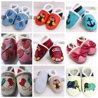 Wholesale Crochet Boys Slippers - soft sole leather baby Boots shoes Baby girl unisex slippers Winter Walking Shoes Zoo Newborn 0-2T,20Pairs lot,choose color & size freely