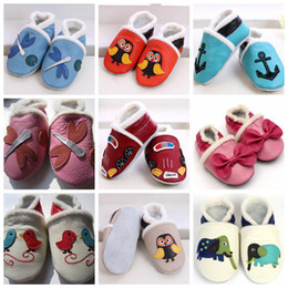 Wholesale Crocheted Slippers - soft sole leather baby Boots shoes Baby girl unisex slippers Winter Walking Shoes Zoo Newborn 0-2T,20Pairs lot,choose color & size freely