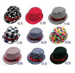 Wholesale Dicers Fedora Hats - Baby Canvas Fedora Hat Baby Jazz Cap Kids Top Hat Baby Fedoras Baby Dicers Children Headgear