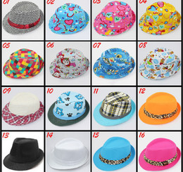 Wholesale Boys Fedora Summer Hat - Hot Selling 10pcs lot Baby Hats children's Sunhat boys and grils hats fedora caps mixed color