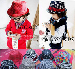 Wholesale Canvas Kids Fedora - Top Baby Fedora Hat Infant Knitted Cap Beanie Accessories Kids Crochet Canvas Hat Headgear 47colors