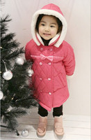 Wholesale Girls Sweet Coat - Wholesale - Winter New Arrival Fashion Sweet Cute Baby Girl's Bowknot Lovely Princess Long Cotton-padded Coat 5p l