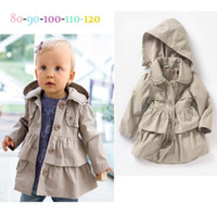 Wholesale Childrens Jackets Coats - Wholesale - new childrens girls long Sleeve tiered hooded outerwears winter spring autumn greatcoats coats tops jacket 5p l