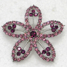Costume Flower Brooch Canada - Wholesale Crystal Rhinestone Bridesmaid Wedding Party prom Brooches Fashion costume Flower Pin Brooch jewelry gift C817