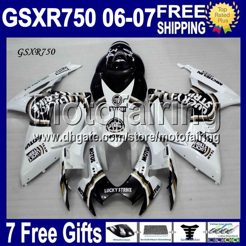 7gifts+Cowl Free Custom Fit SUZUKI K6 06 07 GSXR750 Lucky Strike black White GSX-R750 MF104 GSXR 750 2006 2007 GSXR-750 Fairing Bodywork