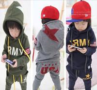 Wholesale Boys Sport Coat 12 - Wholesale - Baby boys Autumn winter outfit suit thickening coat warm suits sport Casual suits 2pcs set(hoodies+harem pants) 5s l