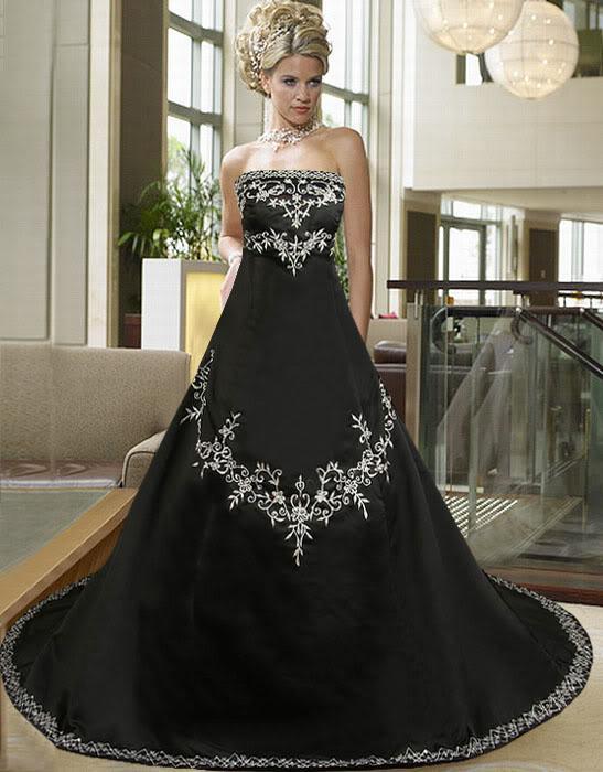 Großhandel Silber Stickerei Schwarz Satin Gothic Brautkleider 2015 ...