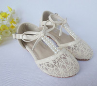 Wholesale Hollow Bow Shoes - Wholesale - -Baby Girls Princess Bow Pearl Hollow Lace White Antiskid Shoes Toddle Walker Shoes Baby Shoes