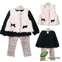 Wholesale Girl Waistcoat Leopard - Free shipping Baby girls autumn 3pcs set: PINK velvet waistcoat +BLACK long-sleeved t-shirt + Leopard pants girls princess clothing set