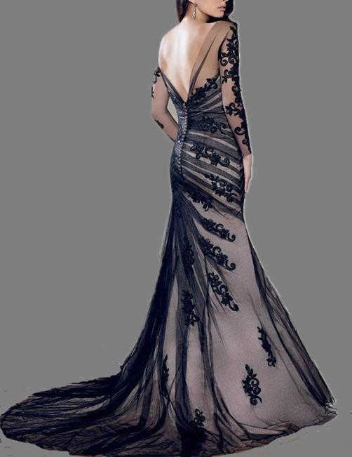 Long Sleeves Black Embroidery Lace Mermaid Bridal Wedding Ball Prom Gown Formal Evening Dress Low V back