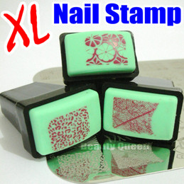 Wholesale Rubber Nail Art - NEW XL Square Nail Stamp & Scraper Rectengular Rubber Stamper for BIG Image Designs Transfer Polish Nail Art Stamping Plate Print Template