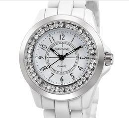 Wholesale Imitation Wristwatches - new imitation ceramic belt Rhinestone bezel women watch Christmas Gift Lady's Luxury Watch Fashion Women's Watches Quartz Wristwatches